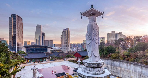 Founded in 794, Bongeunsa Temple overlooks modern Seoul