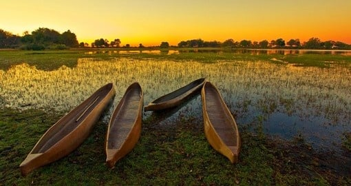 Experience sunrise Over the Okavango Delta during your next trip to Botswana.