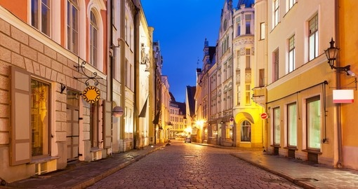 Evening street in Old Town Tallinn