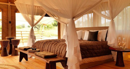 Each of Bushtops Serengeti's twelve luxury tents overlook the savannah