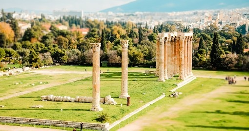 Ruins of ancient temple of Zeus, Athens, Greece, tilt and shift