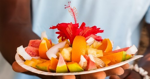 A plate of tropical fruits