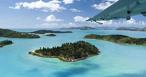 Aerial views of the Whitsunday Islands
