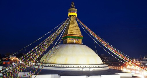 Boudhanath Stupa in the Kathmandu valley is a great photo opportunity for all Nepal tours.