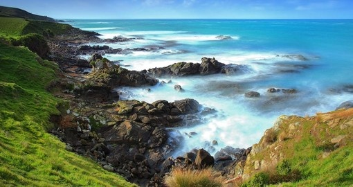 Beautiful coastline near Katiki Point Moeraki Peninsula