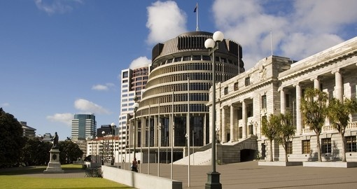 Parliament and Beehive office buildings in central Wellington are great photo opportunities while on New Zealand tours.