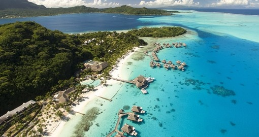 The Conrad Bora Bora has the longest strecth of white sand beach on the island of Bora Bora which is easily accessible during your Bora Bora Vacations.
