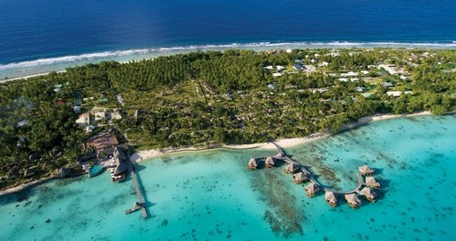 Explore aerial View of Kia Ora Rangiroa during your next Tahiti escape.