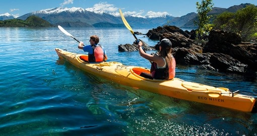 Experience the Southern Explorer kayaking adventure on Lake Wanaka as part of your New Zealand Vacation
