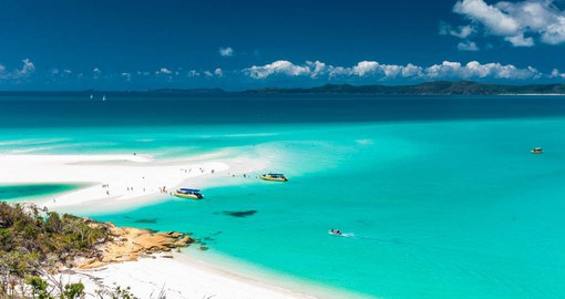 Considered Australia's finest beach, Whitehaven stretches over seven kilometres and boasts brilliant white silica sand