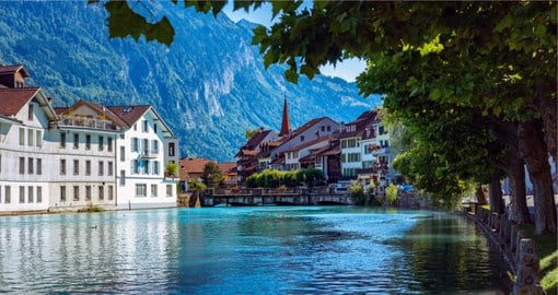 Interlaken lies in the Bernese Oberland, between Lake Thun and Lake Brienz