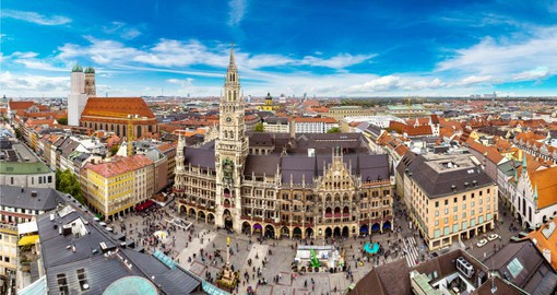 Begin your trip to Germany in Munich and the lively Marienplatz