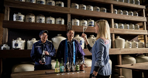 Sake tasting is a great way for solo travelers to make friends on the road