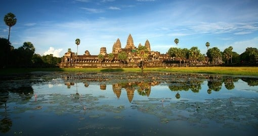 Visit the magnificent Angkor Wat temple that is situated on the waterfront on your Cambodia Tours