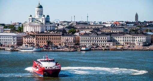 A scenic summer view of historical center of Helsinki - typically the starting point of all Finland vacations.