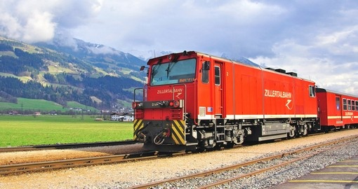 Famous red train goes by the Zillertal railway