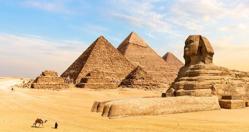 The Great Pyramids of Giza were built over the span of three generations by the rulers Khufu, Khafre, and Menkaure