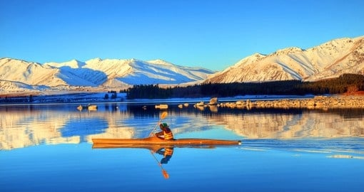 Experience rafting on lake Tekapo in South Island during your next New Zealand vacations.