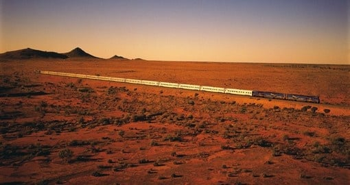 Indian Pacific Train travelling through the Outback