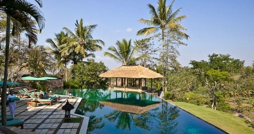 Relax by the pool at Amandari Resort on your Bali vacation