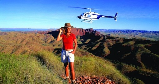 Hiking & Helicopter, with Ragged Range in the Background, Credit Tourism Western Australia