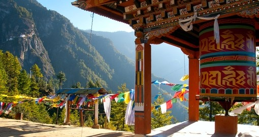Taktshang Monastery with Prayer Flags, Paro