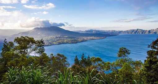 Lake Batur is inside of the caldera of an active volcano, Mount Batur