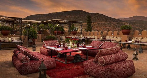 Experience all the amenities of the Kasbah Tamadot during your next Morocco tours.