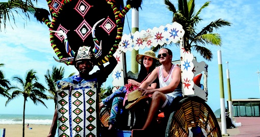 Experience traditional rickshaw ride on your next South Africa tours.