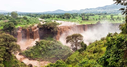The Blue Nile Falls near Bahar Dar is a great photo opportunity while on your Ethiopia vacation.