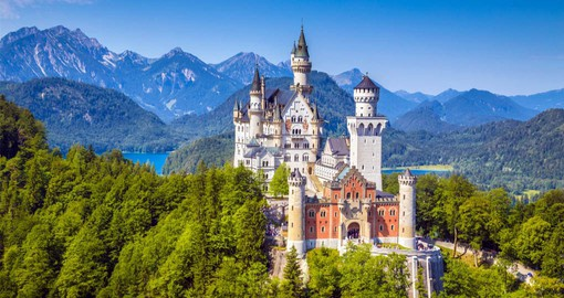 Neuschwanstein, one of the most popular castles in Europe is a fine example of 19th-century Romanesque Revival architecture