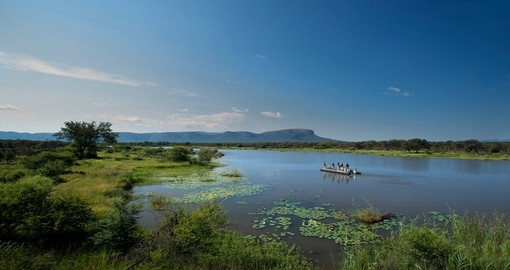 There are a variety of activities to chose from including a water safari during your South Africa trip to the Marataba Safari Lodge.