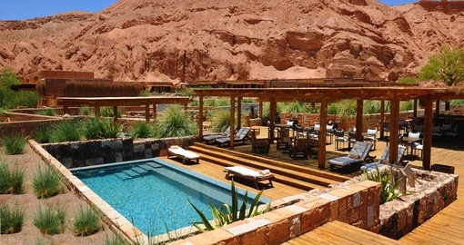 Your Vacation in Chile includes time to relax by the Spa Pool at Alto Atacama Lodge