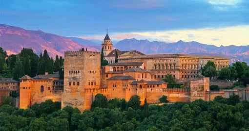 An ancient palace, fortress & citadel located in Granada, the Alhambra was named for its reddish walls and towers