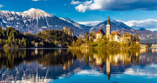 One of the most picturesque spots in Slovenia, Lake Bled is located in the Julian Alps