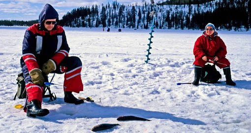 Experience Ice Fishing in Kakslauttenan as part of your Finland Vacation