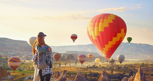 Cappadocia one of the best places to fly with hot air ballons.