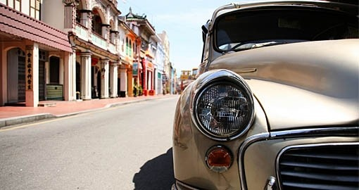 An old car on the streets of Malacca