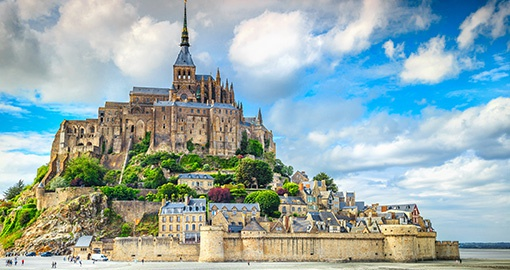 Beautiful Mont Saint Michel cathedral, Normandy.