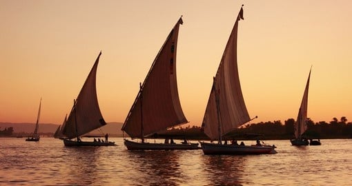 Felucca's on the Nile River at sunset are always a great photo opportunity during your Egypt vacation.