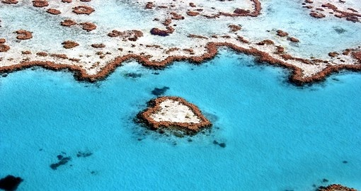 Heart Reef on the Great Barrier Reef is a special place to visit while on your Australia vacation.