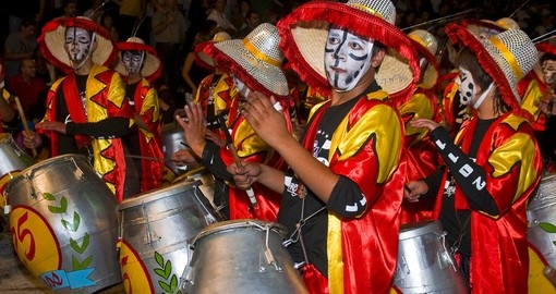 Candombe drummers participate in the annual national festival