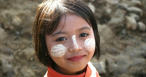 Young girl wearing thanaka for protection from the sun