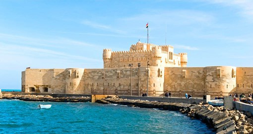 The 14th century Qaitbay Citadel in Alexandria sits on the site of the Pharos Lighthouse