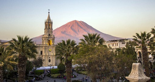Arequipa, Peru's second largest city is framed by three volcanic peaks