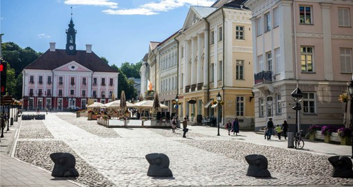Tartu Estonia, with it's impressive Town Hall is visited during your European tour