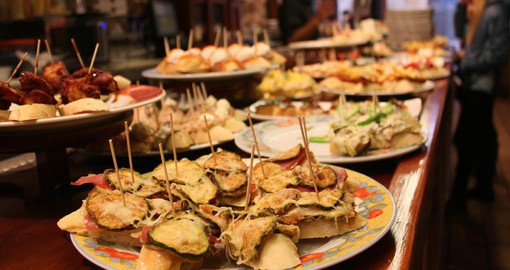 Pintxos are the Basque country's take on tapas, which offer a sampling of the regional specialities