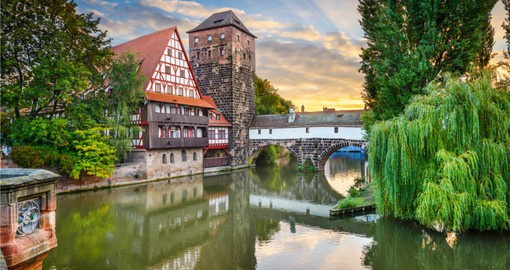 Included in  your Germany vacation package is a stop at Nuremberg and it's stunning Hangman's Bridge over the Pegnitz River