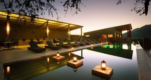 Take a dip in the pool at Shepherd's Tree Game Lodge during your South Africa vacation.