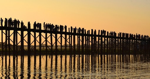 U Bein Bridge was built in 1850 to cross Taungthaman Lake